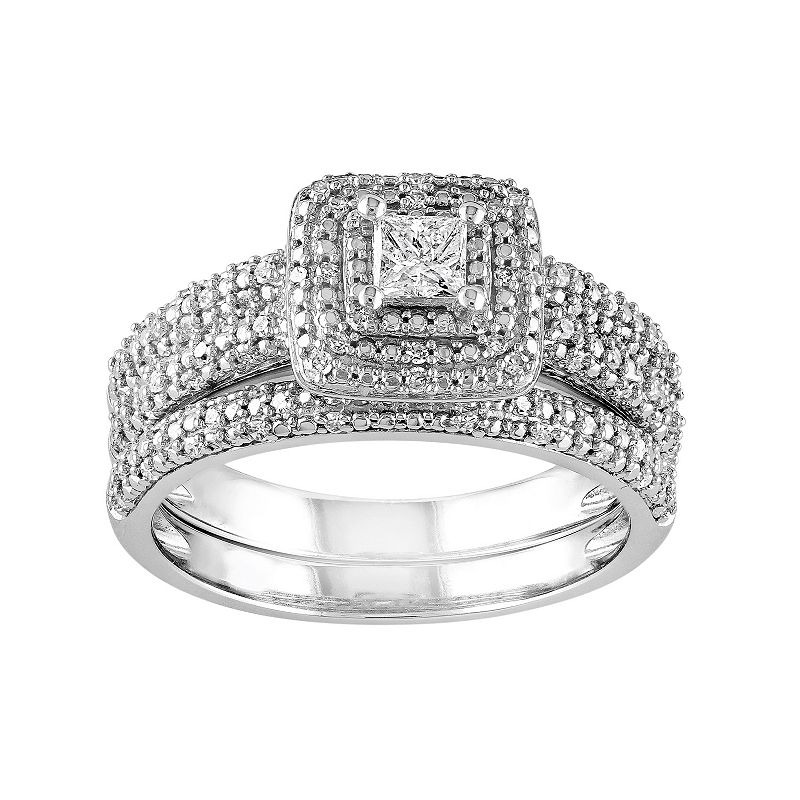 Diamond Tiered Halo Engagement Ring Set in 14k White Gold (1/2 Carat T.W.)