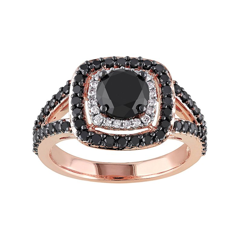 Black & White Diamond Tiered Halo Engagement Ring in 14k Rose Gold (2 Carat T.W.)