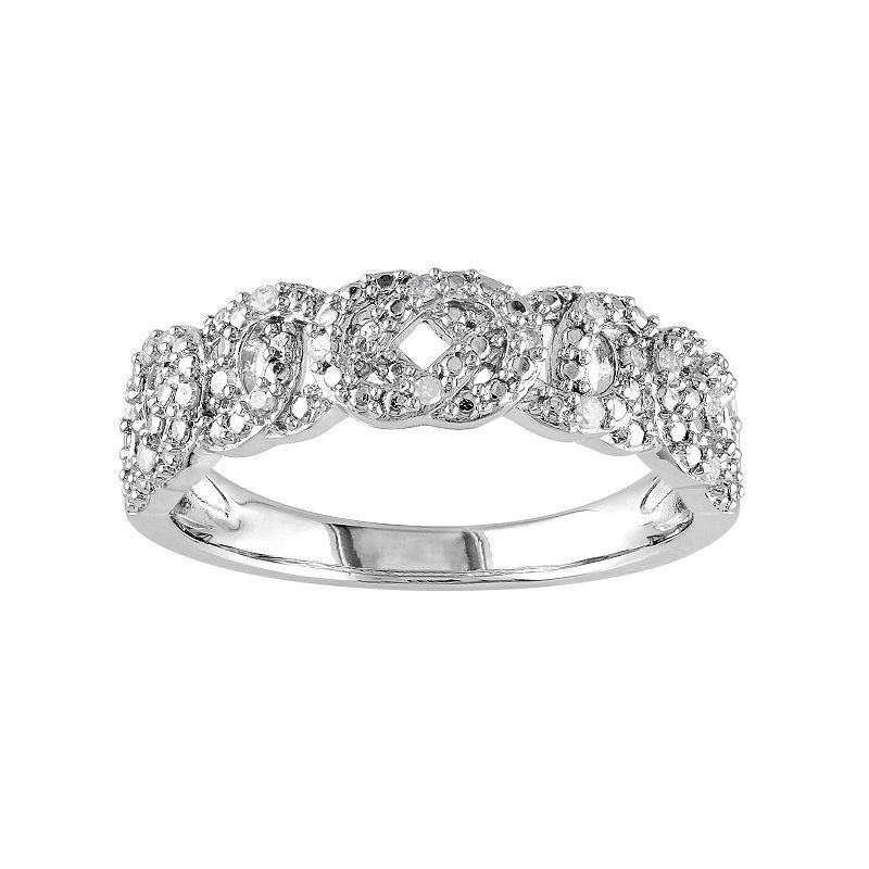 1/10 Carat T.W. Diamond Sterling Silver Woven Ring