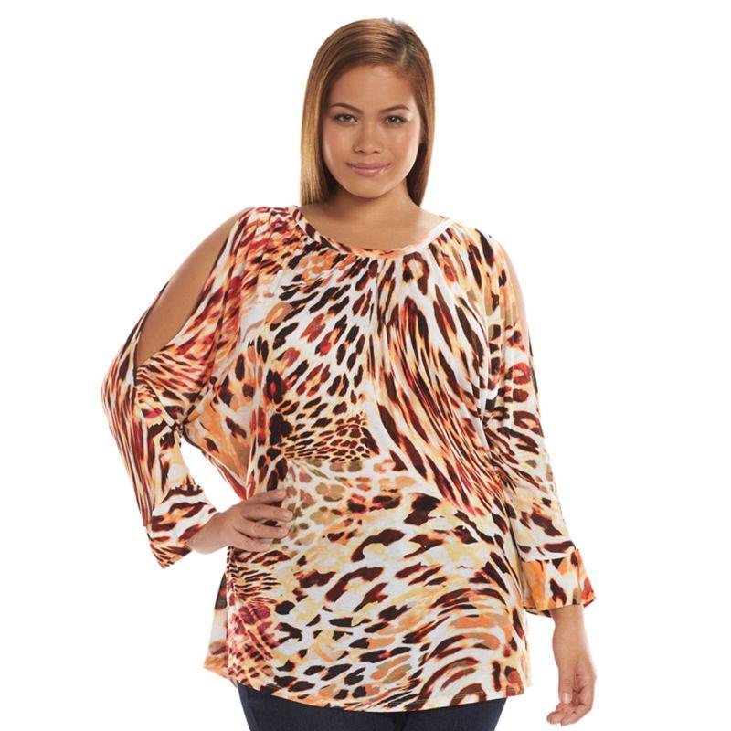 Plus Size Jennifer Lopez Cold-Shoulder Dolman Top, Women's, Size: 0X, Beige/Khaki