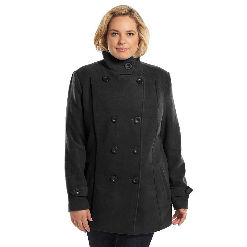 Plus Size Croft & Barrow® Double-Breasted Faux-Wool Peacoat