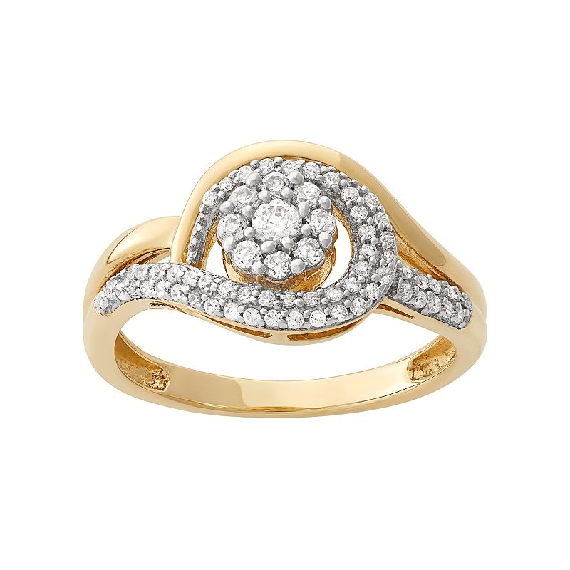 1/2 Carat T.W. Diamond 10k Gold Flower Swirl Ring
