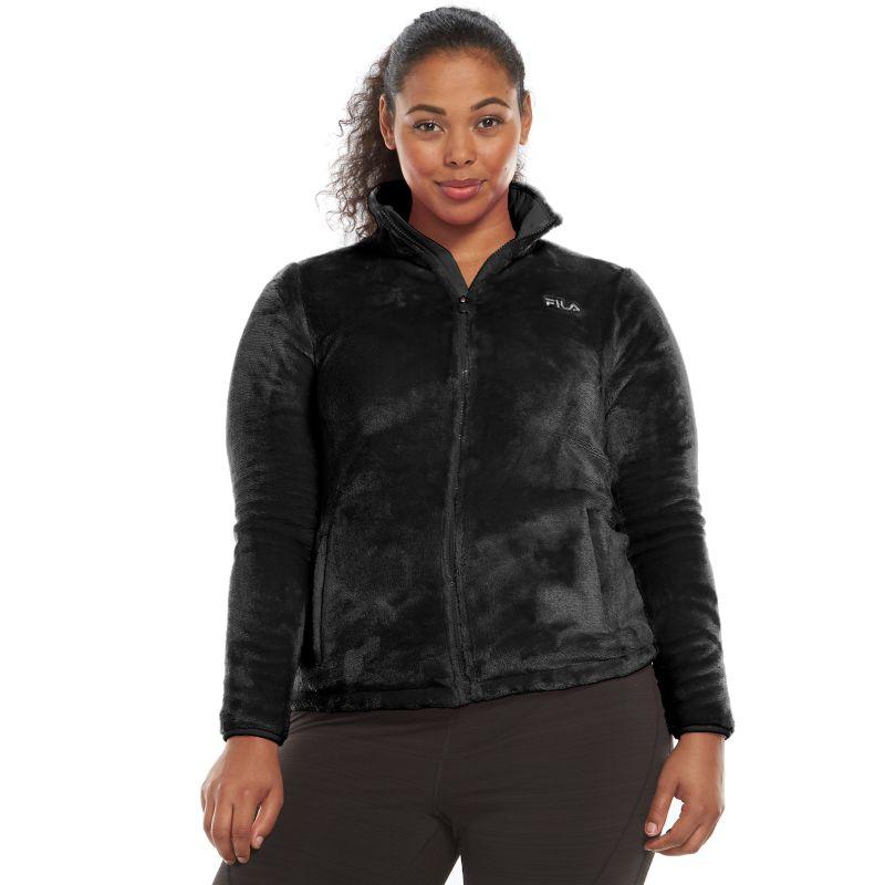 Plus Size FILA Sport Fleece Jacket, Women's, Size: 1X, Black