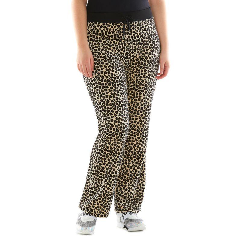 Plus Size Plus Size Juicy Couture Leopard Bootcut Velour Pants, Women's, Size: 1X SHORT, Brown