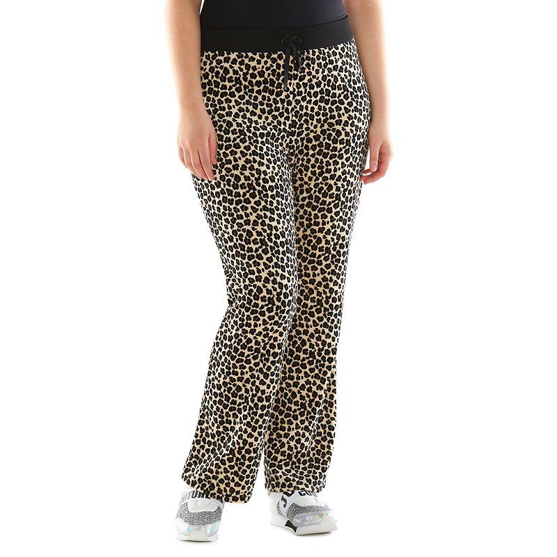Plus Size Juicy Couture Leopard Bootcut Velour Pants