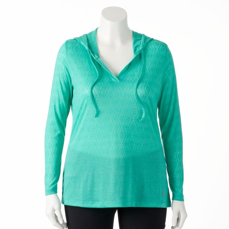 Plus Size Plus Size Marika Lace Burnout Yoga Hoodie, Women's, Size: 1X, Green
