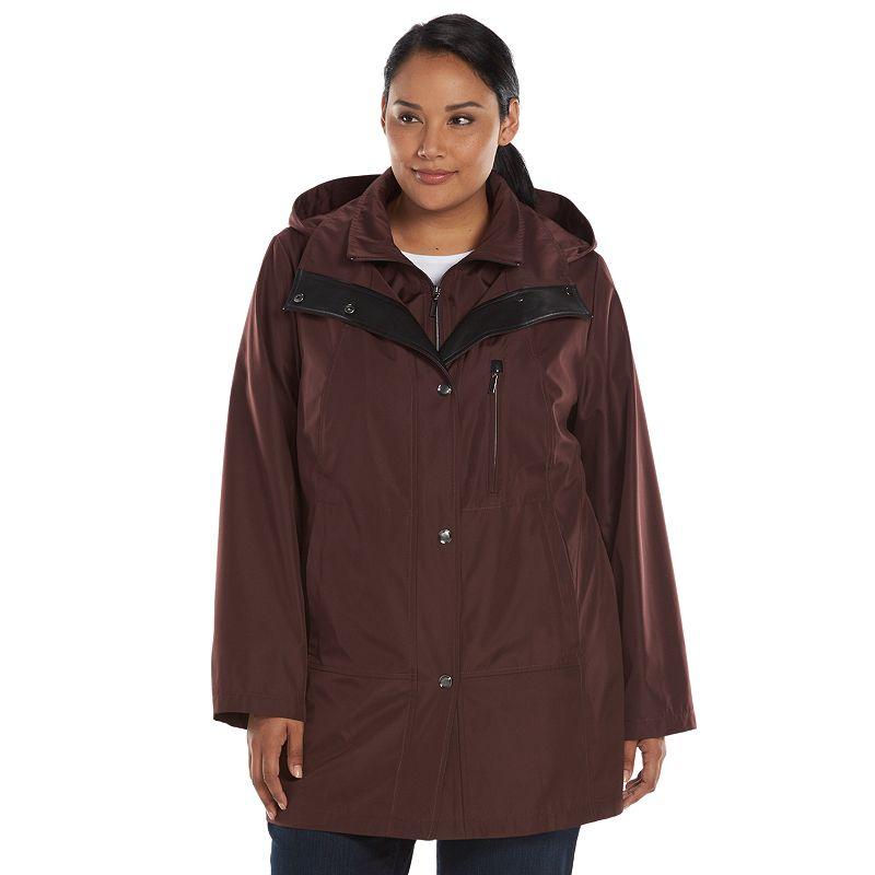 Plus Size Croft & Barrow® Hooded Rain Jacket