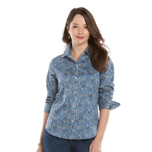 Women's Chaps Printed Button-Down Shirt