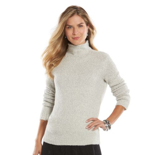 Women's Chaps Marled Mockneck Sweater