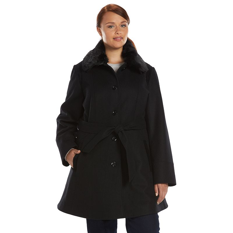Plus Size Apt. 9® Wool-Blend Belted Peacoat