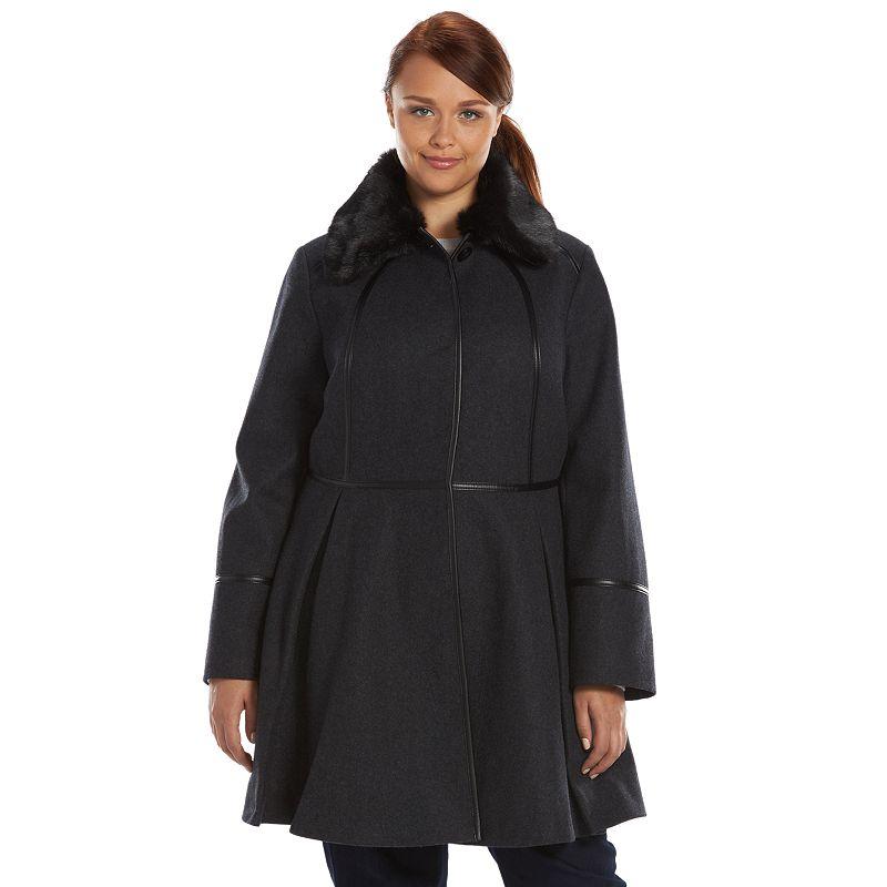 Plus Size Apt. 9® Wool-Blend Fit & Flare Peacoat