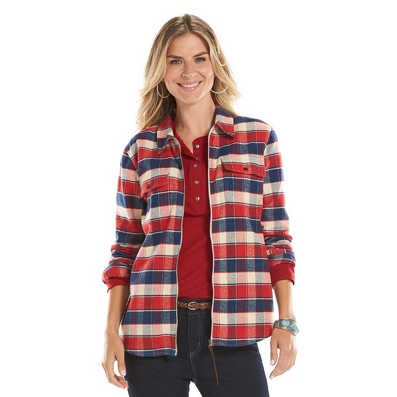 Chaps chest pocket plaid shirt kohl 39 s for Zip front flannel shirt