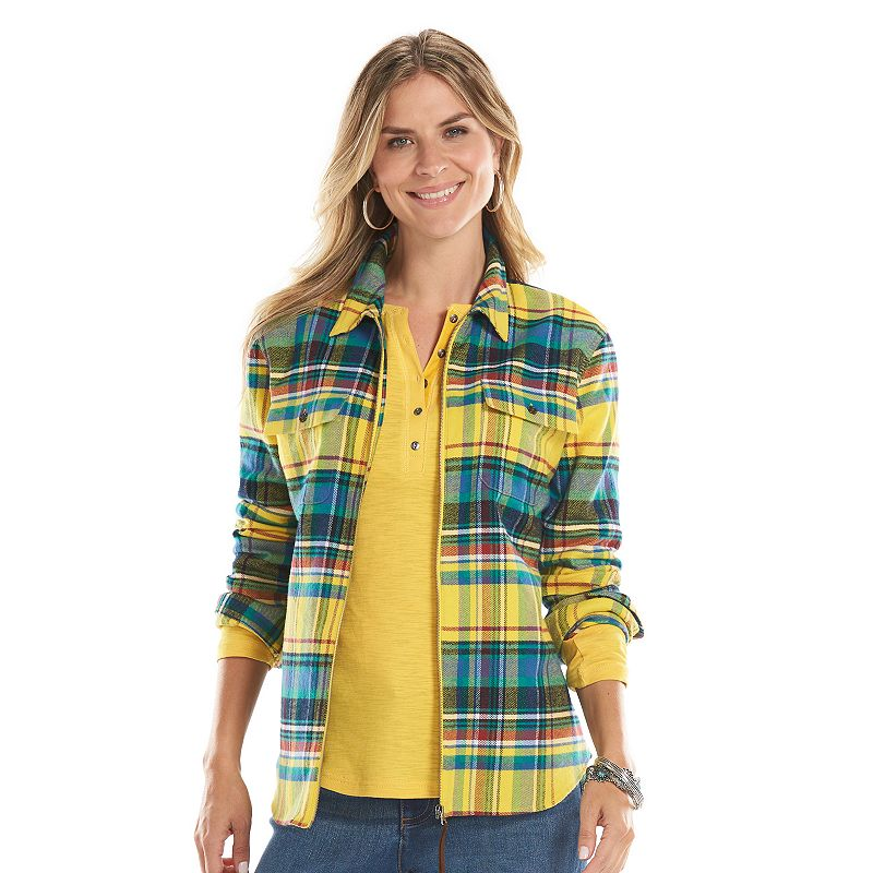 Womens flannel shirt kohl 39 s for Zip front flannel shirt