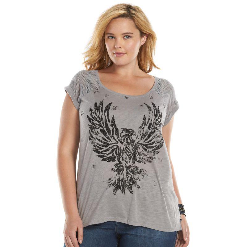 Plus Size Rock & Republic Glitter Eagle Mesh-Sleeve Scoopneck Tee, Women's, Size: 0X, Grey