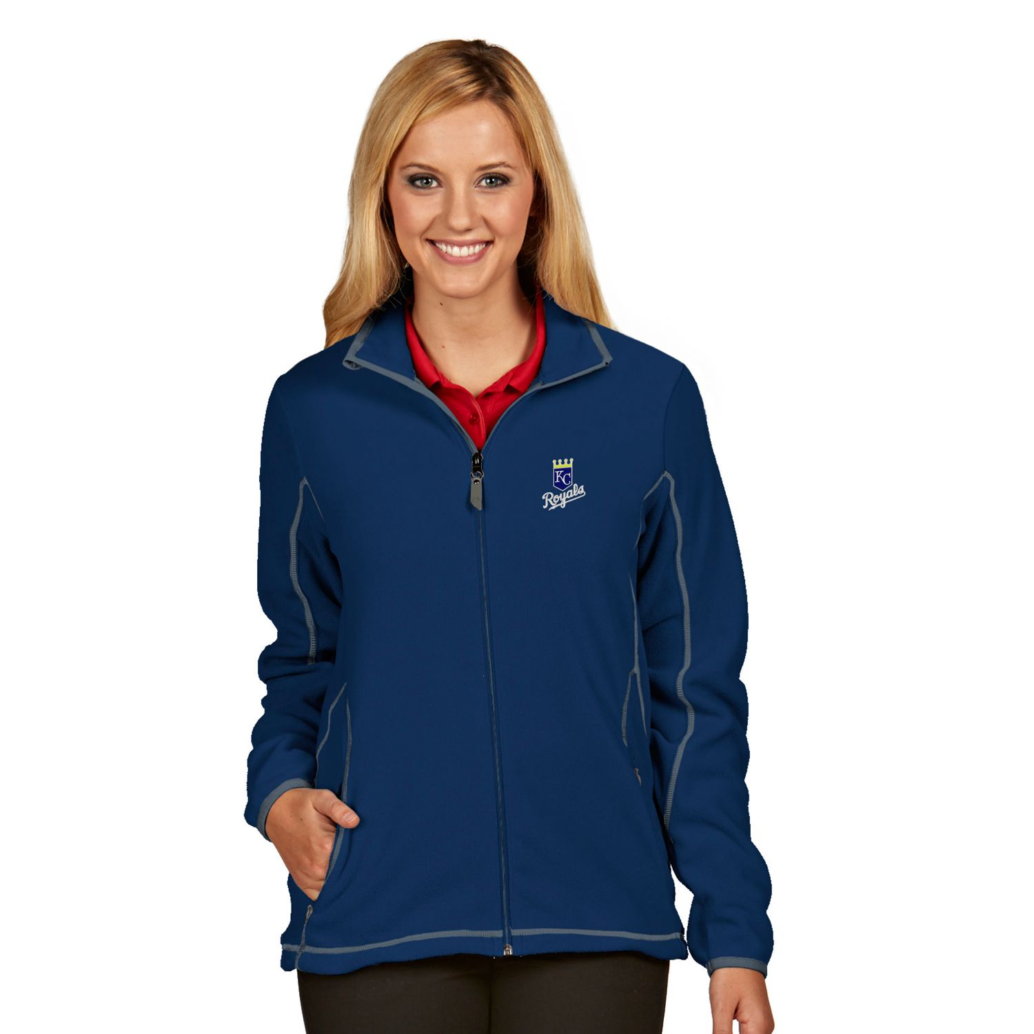 Womens Antigua Kansas City Royals Ice Polar Fleece Jacket