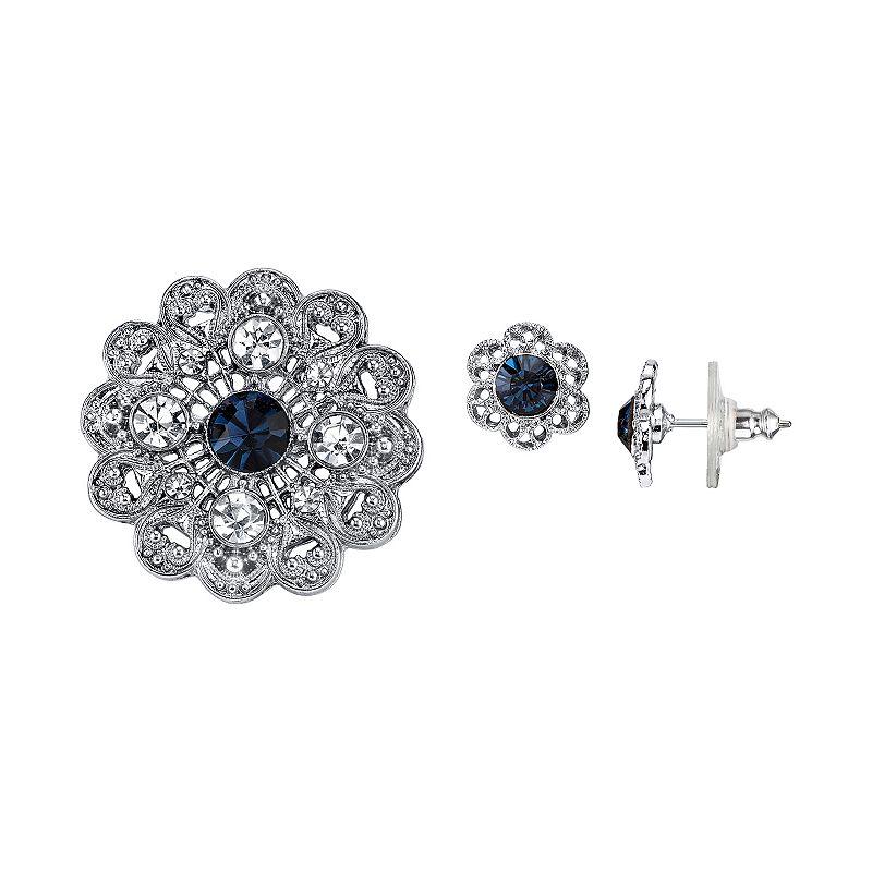 Downton Abbey Flower Pin & Stud Earring Set