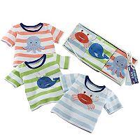 Baby Aspen 3-pk. Deep Sea Animal Stripe Tee Gift Set - Baby Boy