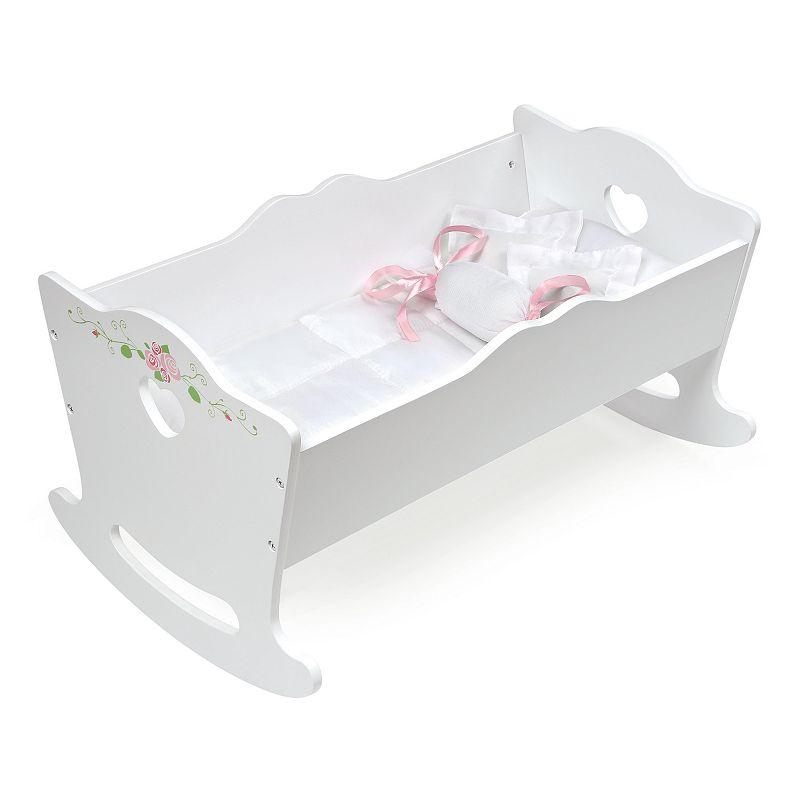 Badger Basket White Rose Wooden Doll Cradle