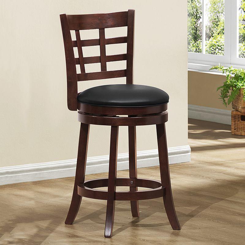 HomeVance Espresso Lattice Back Swivel Counter Chair