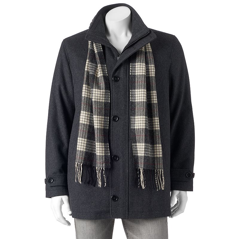 Men's Towne Car Coat With Plaid Scarf