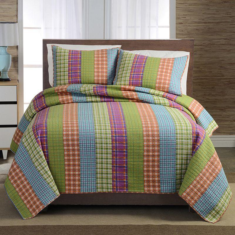 Bright Plaid Stripe Quilt Set
