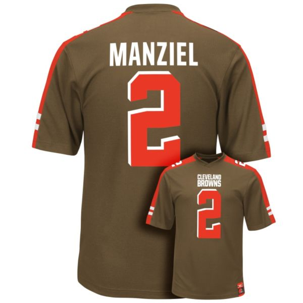 Men's Majestic Cleveland Browns Johnny Manziel Hashmark Player Top