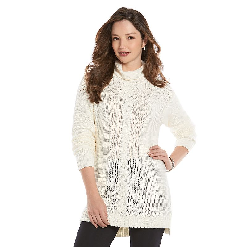 Petite Chaps Cable-Knit Tunic Sweater