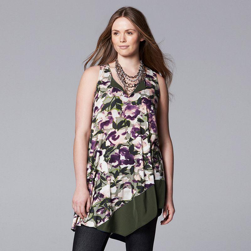 Simply Vera Vera Wang Floral Asymmetrical Tunic - Women's Plus Size (Purple)