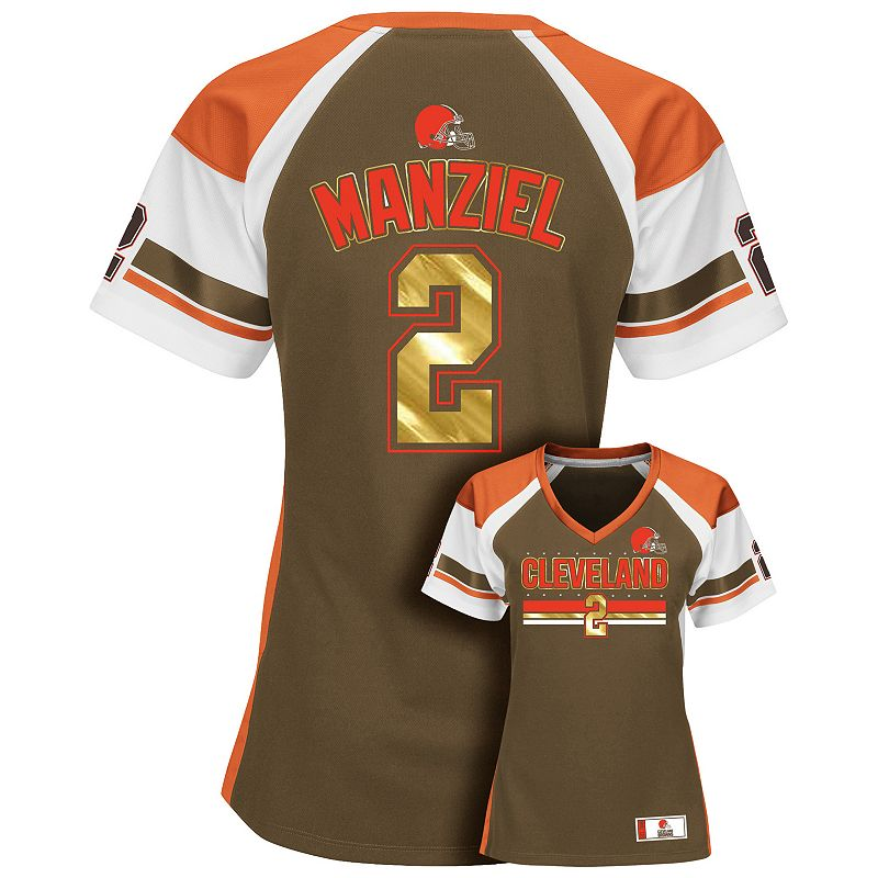 Women's Majestic Cleveland Browns Johnny Manziel Draft Him Fashion Top
