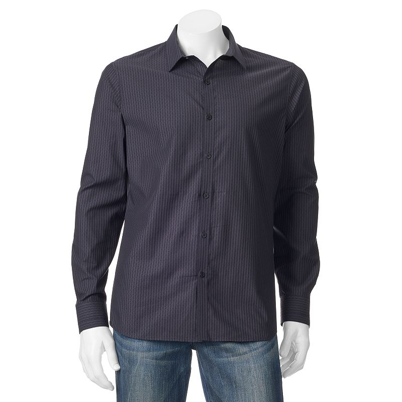 Men's Marc Anthony Slim-Fit Diamond Striped Casual Button-Down Shirt