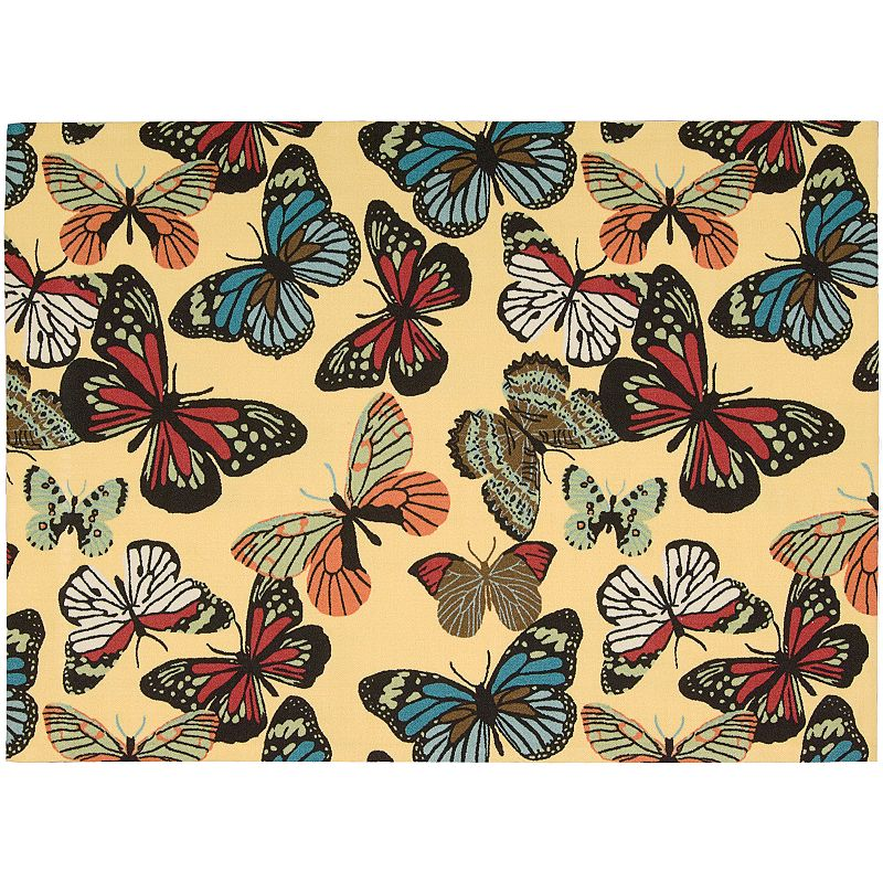 Nourison Home and Garden Butterfly Indoor Outdoor Rug