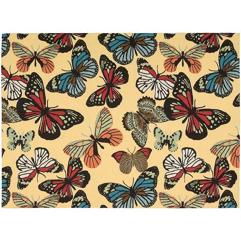 Nourison Home and Garden Butterfly Indoor Outdoor Rug