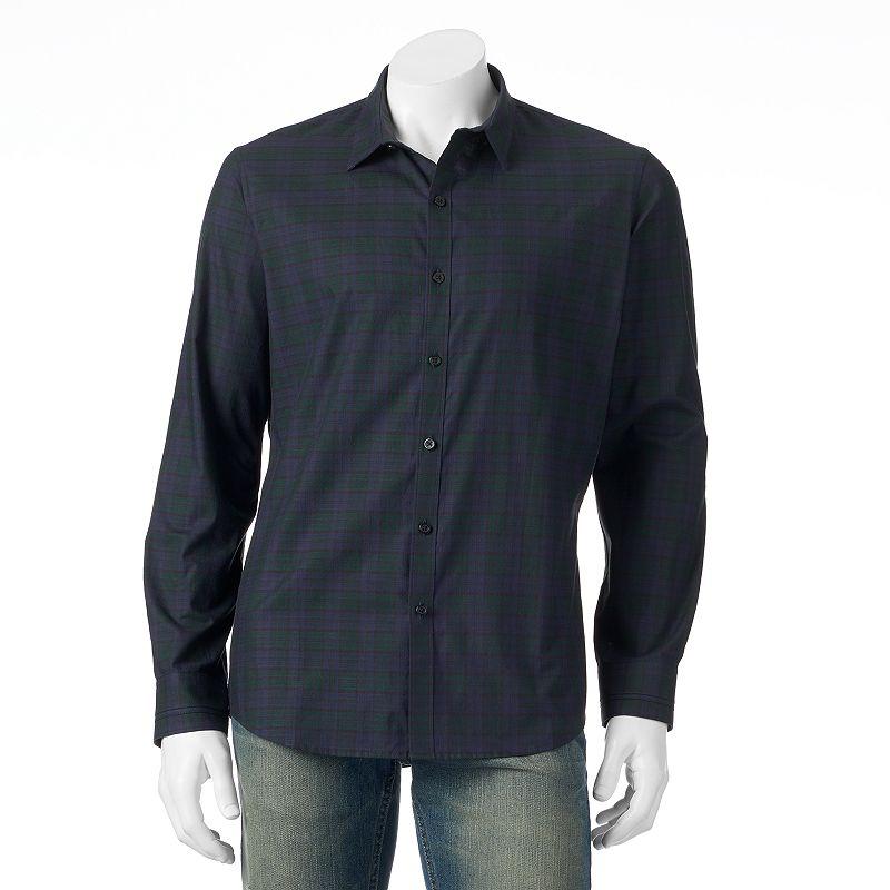 Men's Marc Anthony Slim-Fit Plaid Button-Down Shirt