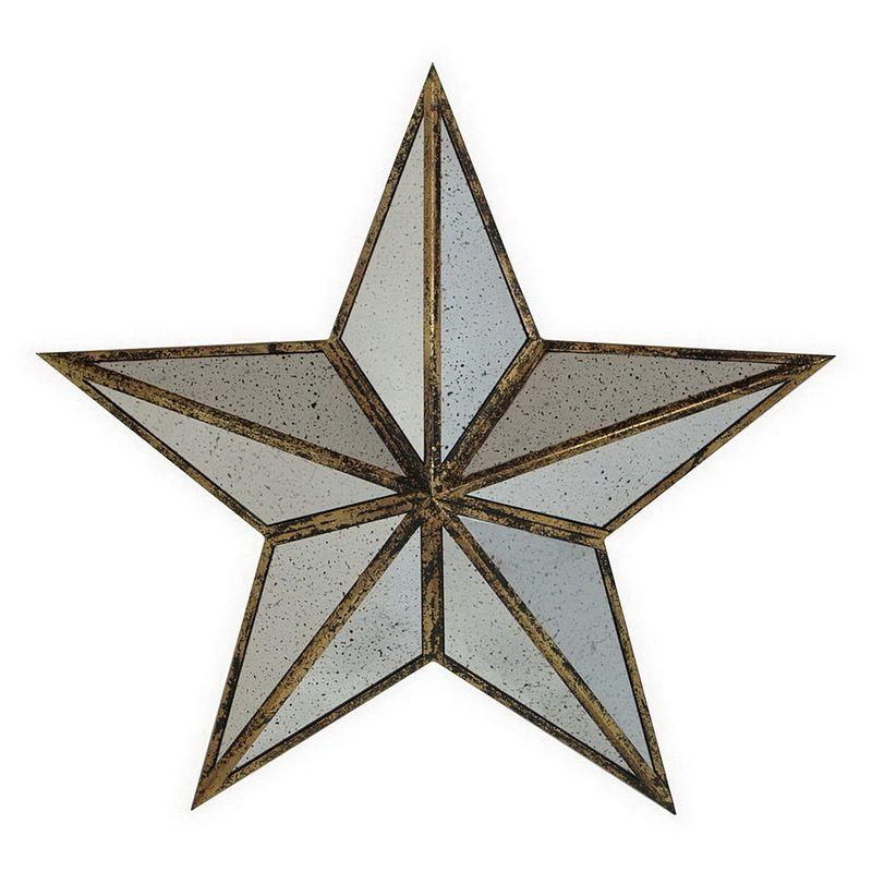 Glass Star Wall Decor : Three hands mercury glass mirror star metal wall art