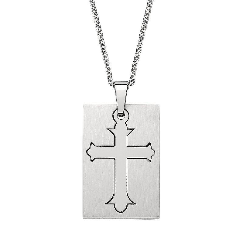 Titanium Cross Dog Tag Necklace - Men