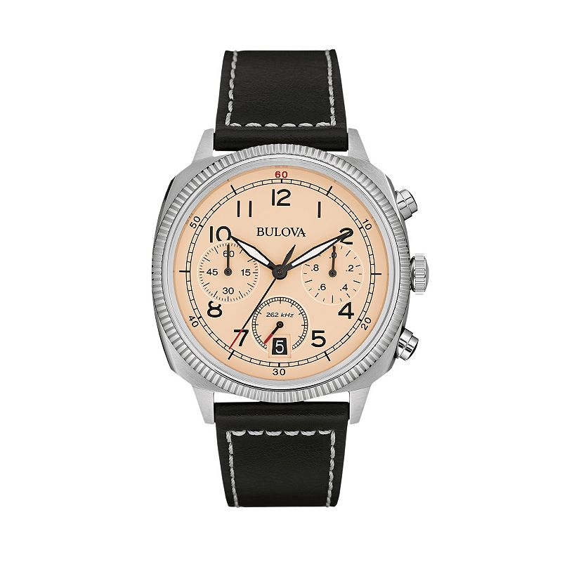 Bulova Men's Military Leather Chronograph Watch - 96B231