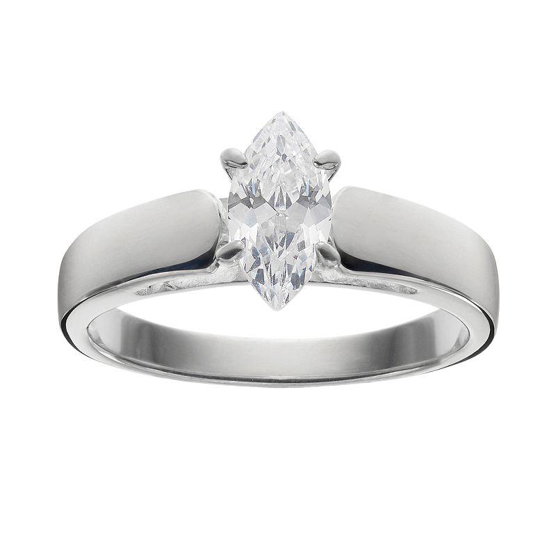 Cubic Zirconia Solitaire Marquise Engagement Ring in Sterling Silver