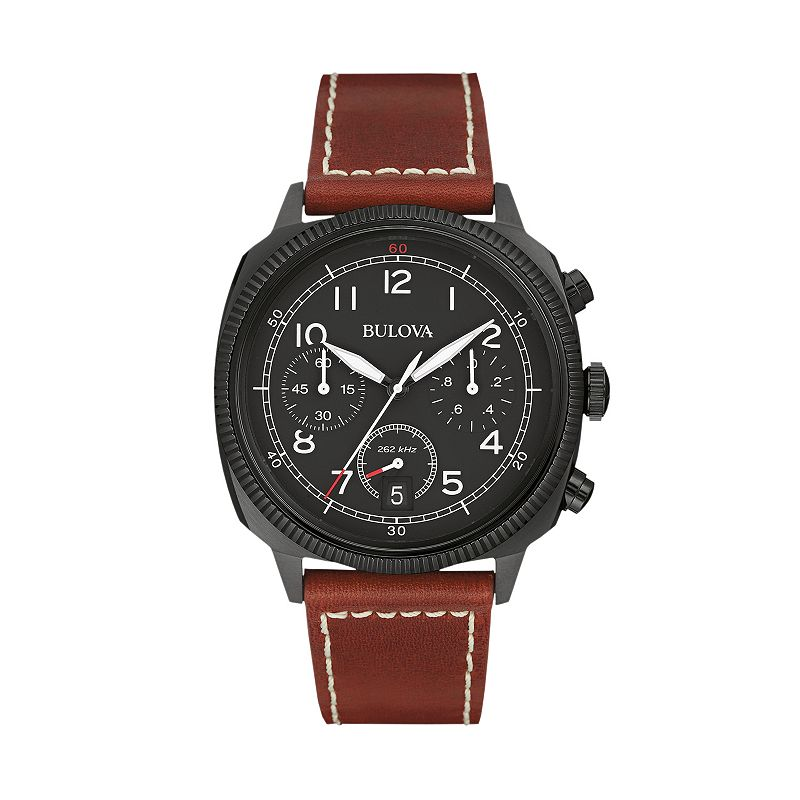 Bulova Men's Military Leather Chronograph Watch - 98B245