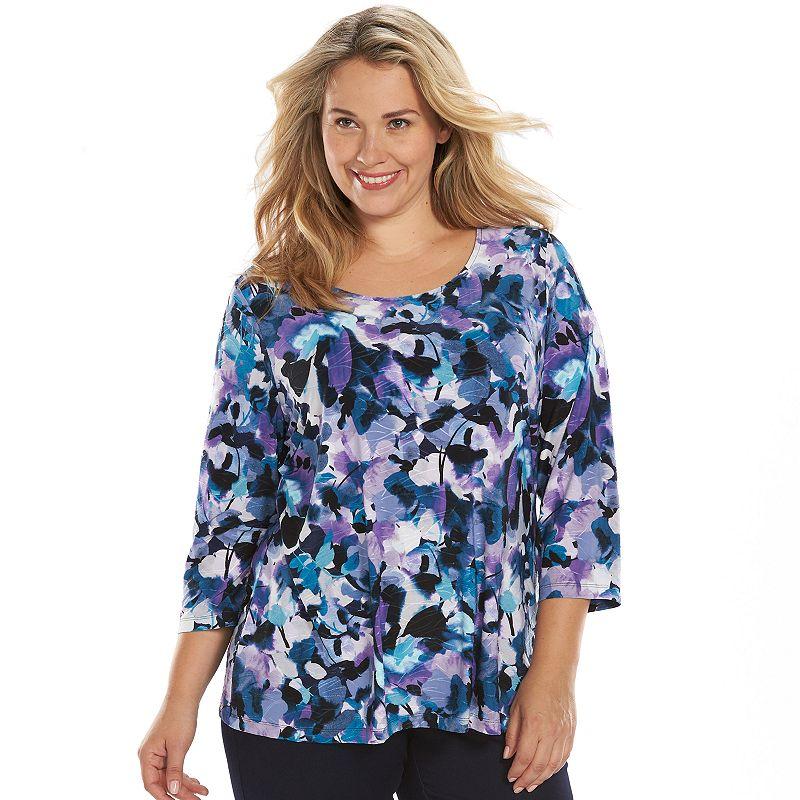 Plus Size Croft & Barrow® Print Jacquard Scoopneck Top