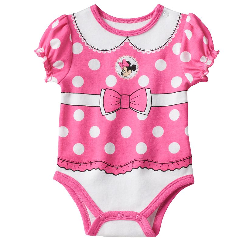 Disney's Minnie Mouse Pink Polka Dot Front & Back Bodysuit - Baby Girl