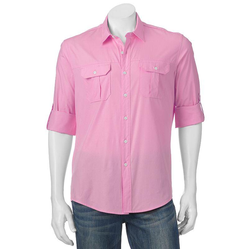 Big & Tall Apt. 9® Modern-Fit Solid Roll-Tab Casual Button-Down Shirt