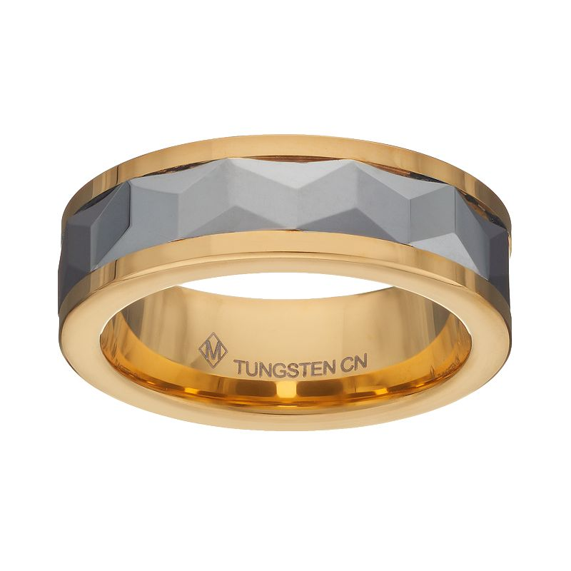 Tungsten Carbide Two Tone Faceted Band - Men