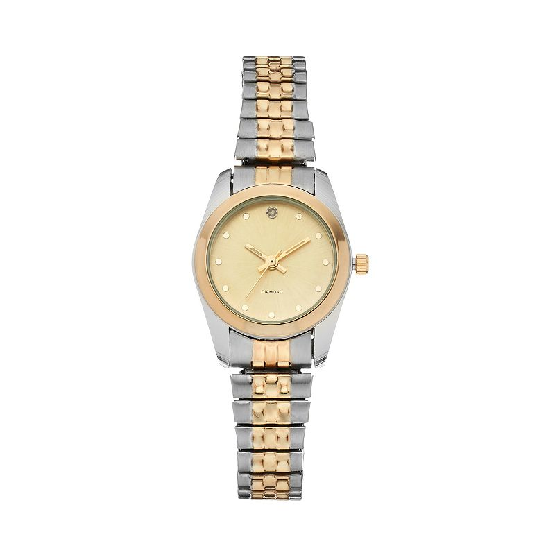 Women's Diamond Two Tone Stainless Steel Expansion Watch
