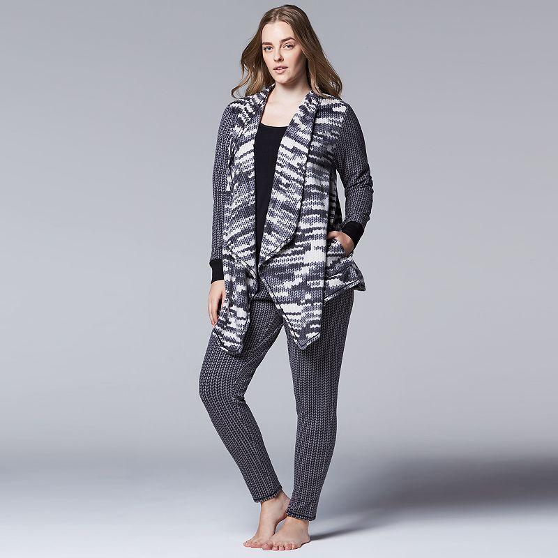 Plus Size Simply Vera Vera Wang Pajamas: Close Knit Microfleece Wrap & Leggings Pajama Set