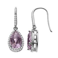 Rebecca Sloane Amethyst & Cubic Zirconia Platinum Over Silver Halo Teardrop Earrings