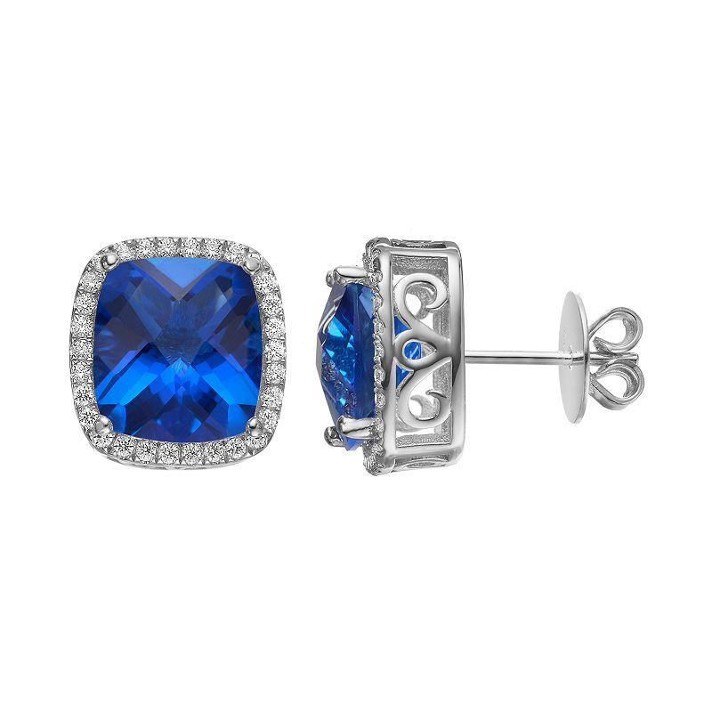 Rebecca Sloane Blue Obsidian & Cubic Zirconia Platinum Over Silver Cushion Halo Stud Earrings