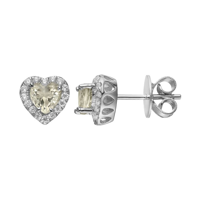 Rebecca Sloane Lemon Quartz & Cubic Zirconia Platinum Over Silver Heart Halo Stud Earrings
