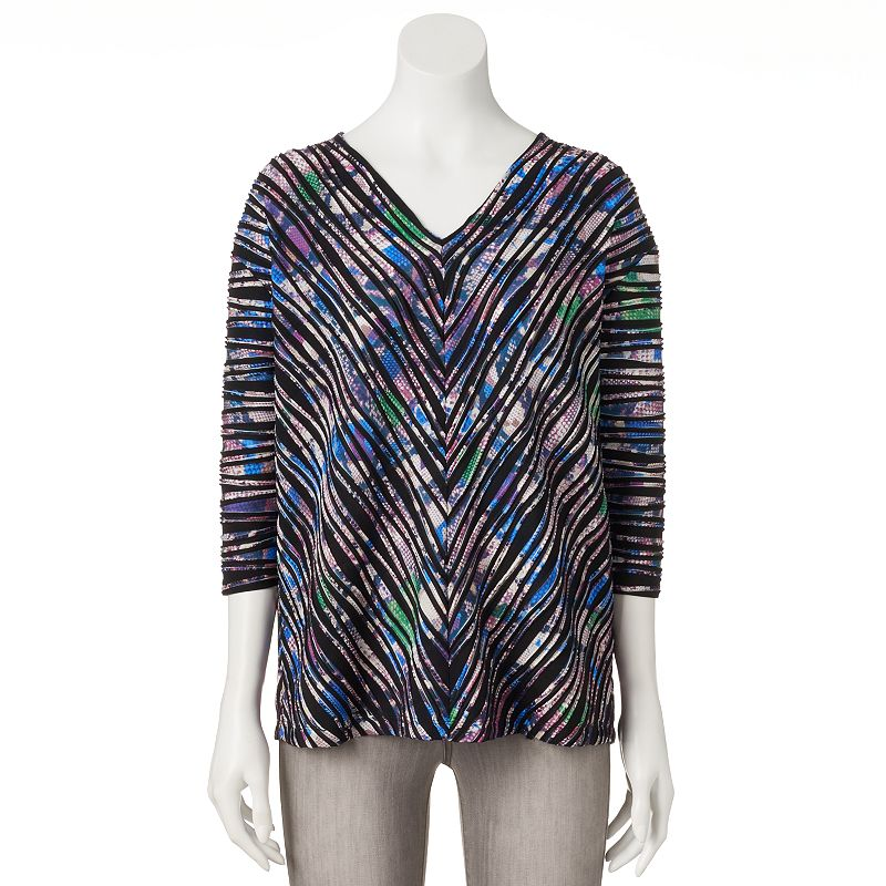 Dana Buchman Mitered-Stripe Textured Top - Women's