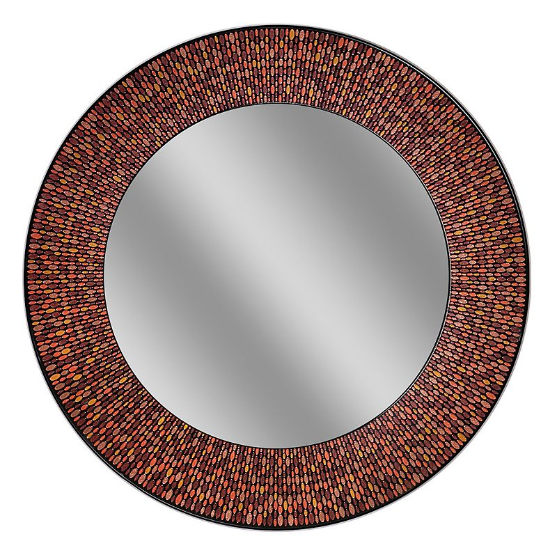 Head West Amber Mosaic Circle Wall Mirror