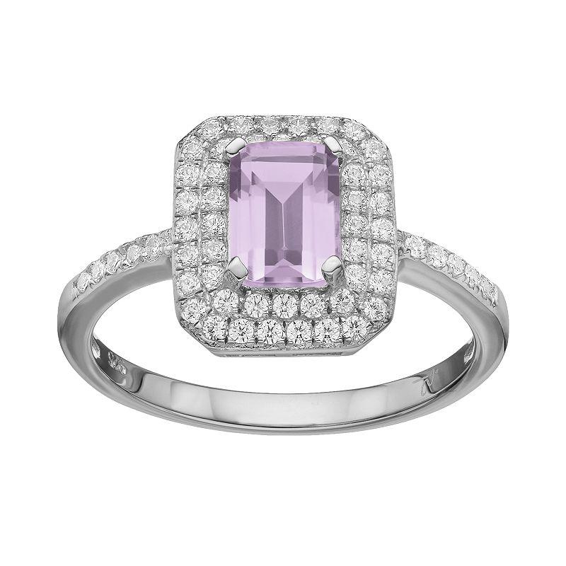 Rebecca Sloane Amethyst & Cubic Zirconia Platinum Over Silver Halo Ring